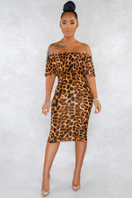 Load image into Gallery viewer, Leopard Print Off-the-shoulder Midi Dress