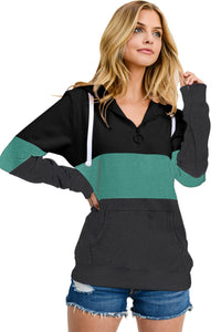 Green Color Block Zipped Neck Hoodie