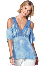 Load image into Gallery viewer, Blue Cold Shoulder Tie Dye V Neck Top