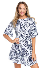 Load image into Gallery viewer, Blue Floral Pattern Ruffle Hem Chiffon Dress