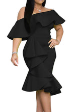 Load image into Gallery viewer, Black Stylish Off The Shoulder Ruffle Design Knee Length Dress