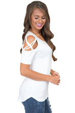 Load image into Gallery viewer, White Crisscross Cold Shoulder Short Sleeve Shirt