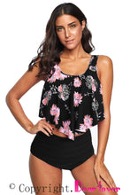 Load image into Gallery viewer, Black Floral Crop Ruffled Overlay High Waist Tankini