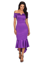 Load image into Gallery viewer, Purple Off Shoulder Short Sleeve Mermaid Dress