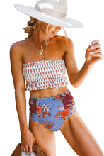 Load image into Gallery viewer, White High Waist Printed Smocked Bikini