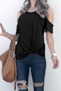 Black Twist Front Cold Shoulder Tee
