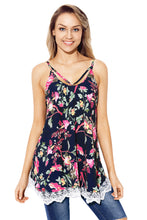 Load image into Gallery viewer, Lace Hem Navy Floral Strappy Cami Top