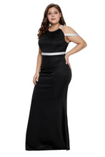 Load image into Gallery viewer, Black Plus Size Rhinestone Galore Maxi Dress
