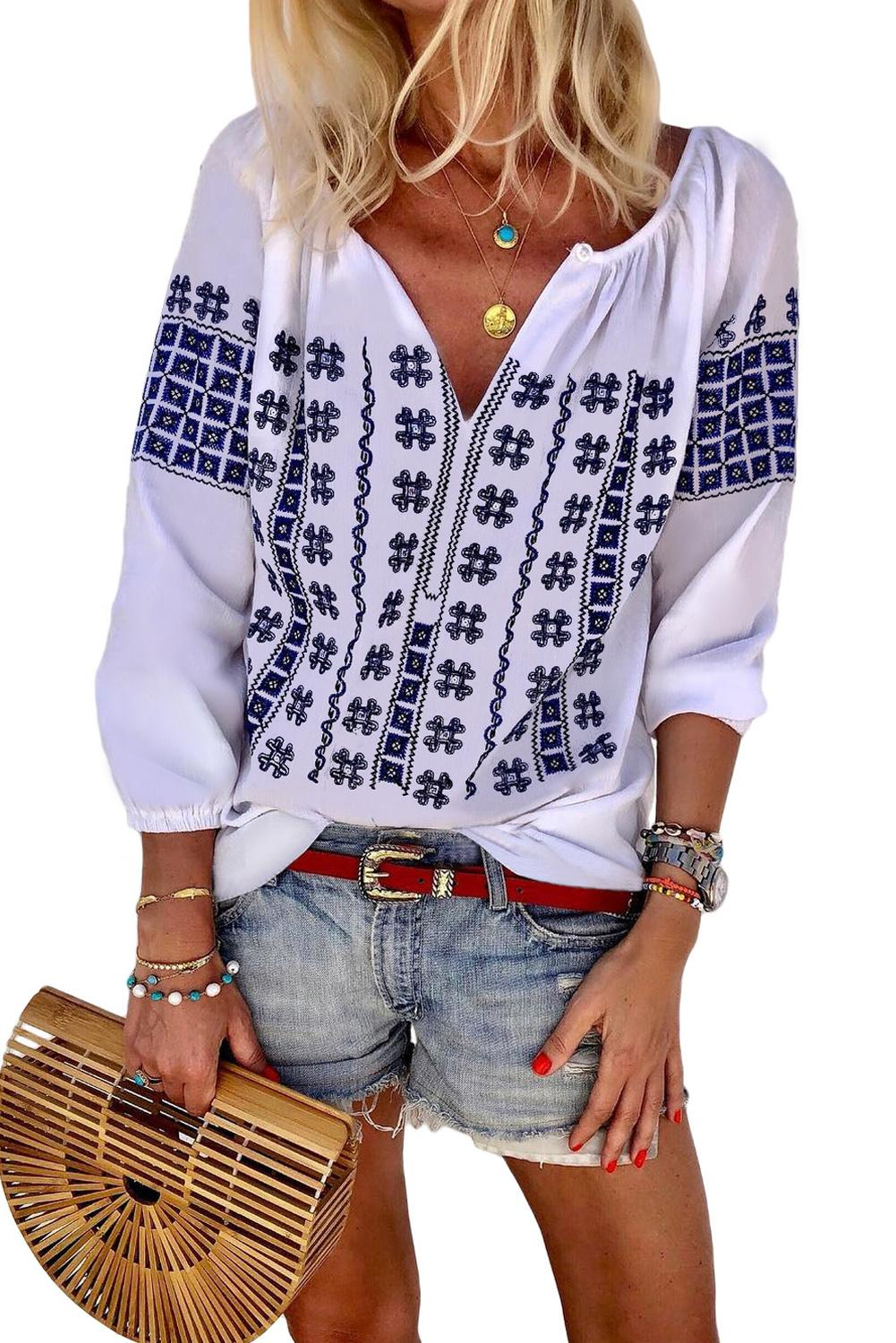 Blue Ethnic Embroidery V Cut Neck 3/4 Sleeve Top