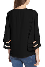 Load image into Gallery viewer, Black Criss Cross Neck 3/4 Bell Sleeve Blouse