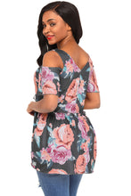 Load image into Gallery viewer, Charcoal Cold Shoulder Babydoll Top in Floral Print