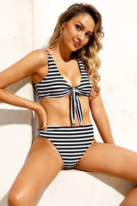 Black White Striped Tie Front High Waist Bikinis