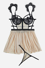 Load image into Gallery viewer, Nude Black Eyelash Lace Trim Babydoll with Thong