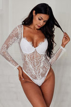 Load image into Gallery viewer, White Underwire Floral Lace Long Sleeve Bodysuit
