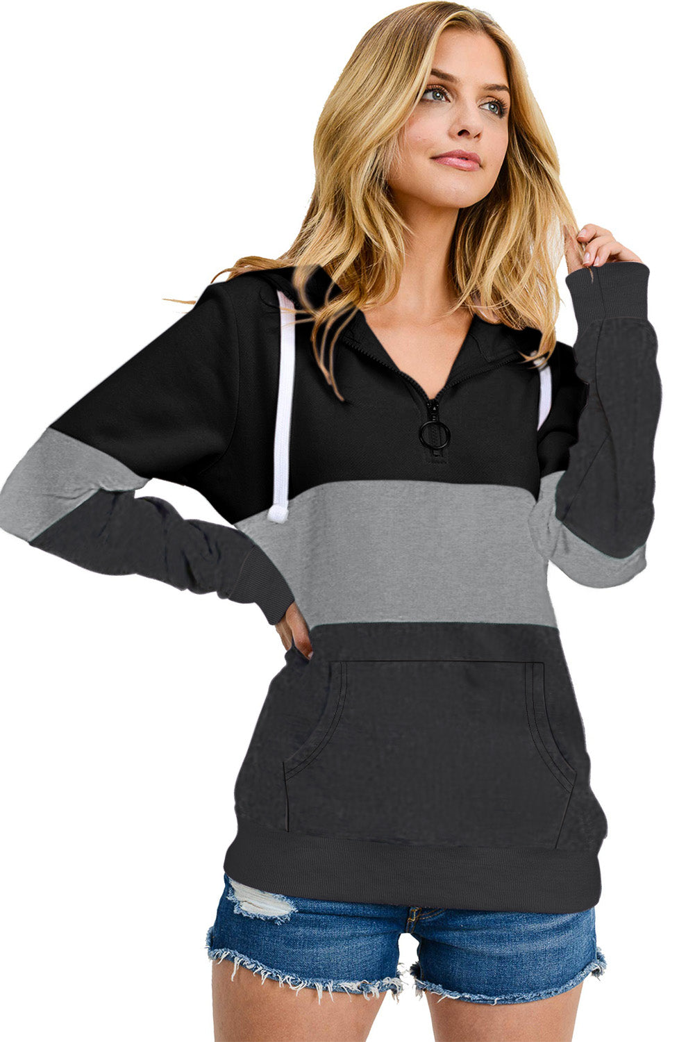 Black Color Block Zipped Neck Hoodie
