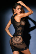 Load image into Gallery viewer, Black Sleeveless Sheer Mesh Lingerie Dress