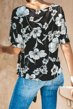 Load image into Gallery viewer, Black Floral V Neck Tie Knot Front Blouse