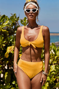 Yellow Knot Center Ribbed Vest Two-piece Swimwear