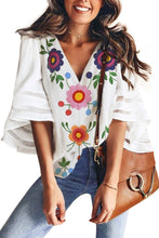Load image into Gallery viewer, White V Collar Floral Print Bell Sleeve T-shirt Blouse