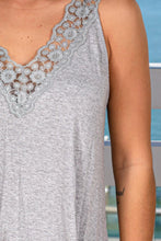 Load image into Gallery viewer, Heather Gray Top with Embroidered Hem