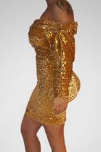 Load image into Gallery viewer, Gold Sequin Off Shoulder Club Dress