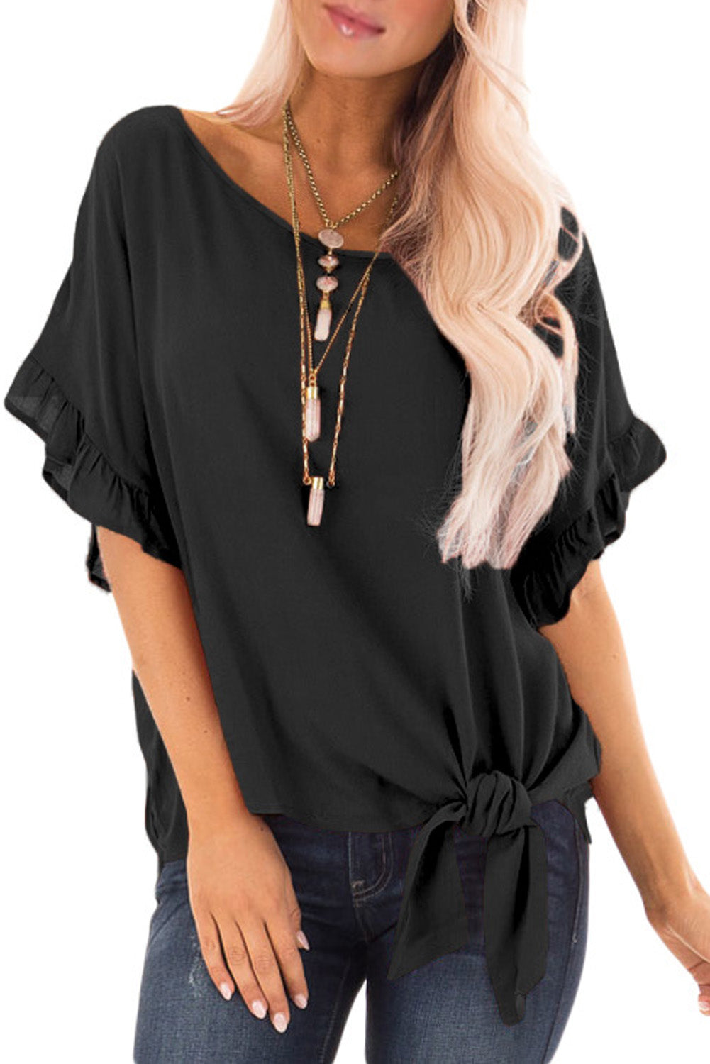 Black Ruffled Sleeve Blouse with Front Knot Detail
