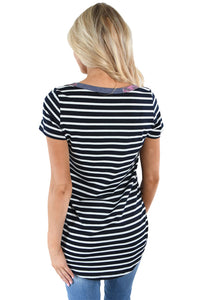Navy Floral Back Striped Casual T-shirt