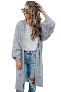 Gray Long Front Open Cardigan