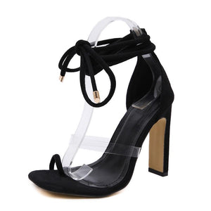 2020 Women 11Cm High Heels Lace Up Square Toe Sandals Women Ankle Strap Summer Snake Skin Print Lady Shoes Serpentine Sandals Black