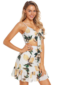 White Fruity Print Tie Front Bralette and A-line Mini Skirt