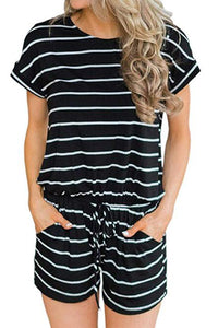 Black Stripe Short Sleeve Drawstring Romper