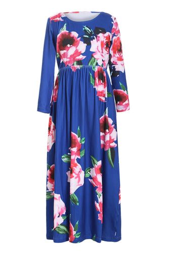 Blue Floral Maxi Dress for Kids