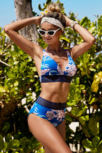 Load image into Gallery viewer, Blue Floral Print High Waist Bikini