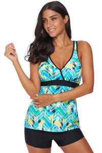 Green Printed Tankini Top Solid Boyshort Swimsuit
