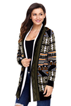 Load image into Gallery viewer, Army Green Aztec Print Cardigan