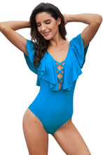 Load image into Gallery viewer, Sky Blue Plunging V Neck Ruffled Flutter Sleeve Maillot
