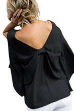 Load image into Gallery viewer, Black V-Neck Bowknot Three-Quarter Sleeve Blouse