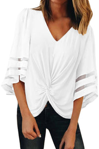 White V Neck Flared Sleeve Twisted Detail Loose Blouse