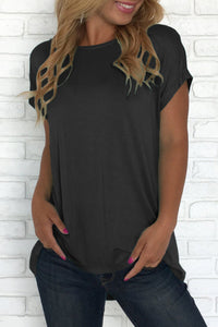 Black Criss Cross Short Sleeve T Shirt