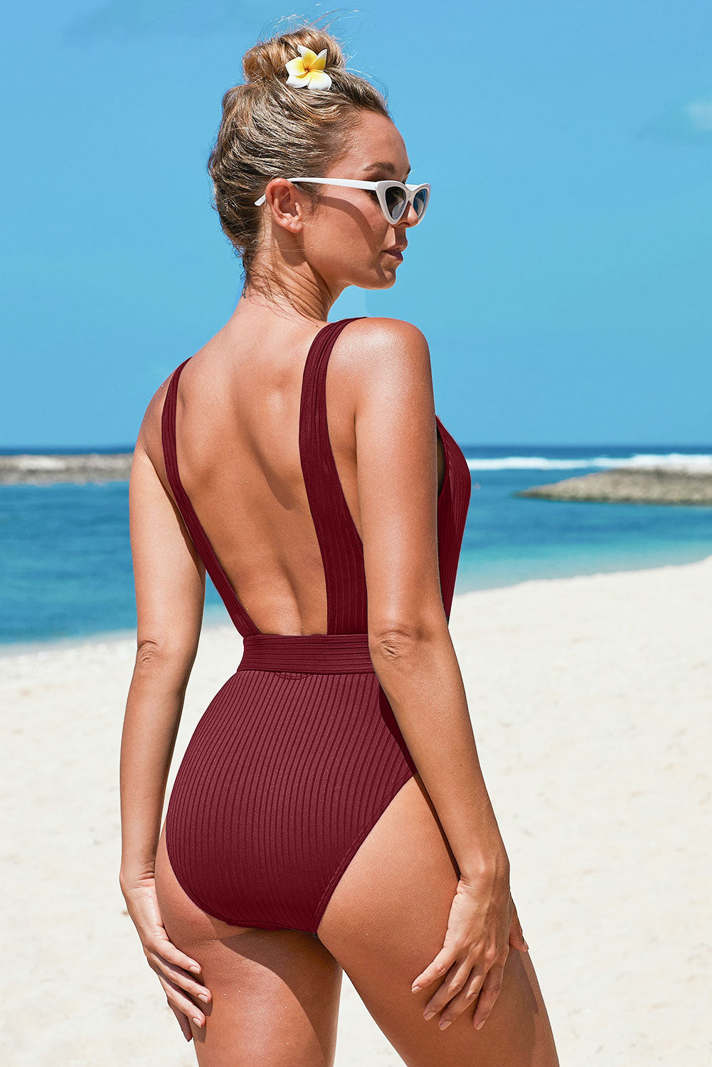 Purple Ribbed One-piece Swimsuit with Belt