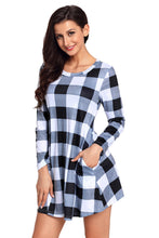 Load image into Gallery viewer, Black White Plaid Mini Dress