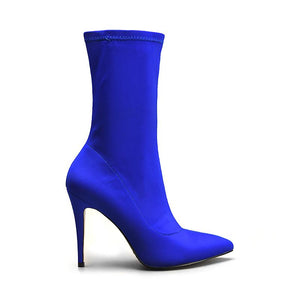 2020 New Boots Women Stretch Fabric Pointed Toe Ankle Boots High Heels Zip Basic High Boots Sexy Pumps Women Shoes Blue