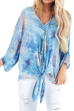 Load image into Gallery viewer, Sky Blue Tie Dye V Neck Top