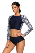 Load image into Gallery viewer, Navy Blue Surf Rashguard Protection Swimming Raglan Sleeve Swimsuit