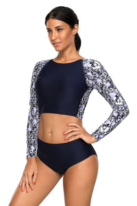 Navy Blue Surf Rashguard Protection Swimming Raglan Sleeve Swimsuit