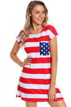 Load image into Gallery viewer, Star Patch Pocket Striped Flag Shirt Dress