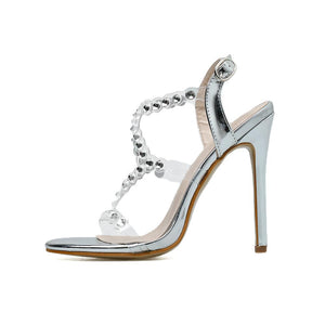 2020 Design Rivet Crystal Sandals Wedding Women Shoes Rhinestones Woman High Heels Pvc Transparent Sexy Night Club Female Shoes