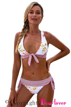 Load image into Gallery viewer, White Print Knotted Halter Neck Criss Cross Back Bikini Swimsuit