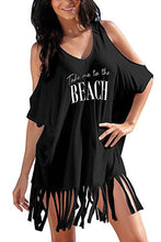 Load image into Gallery viewer, Black Loose Fit Take me to the BEACH Cover up