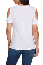 Load image into Gallery viewer, White Cut out Neck Cold Shoulder Slub Tee